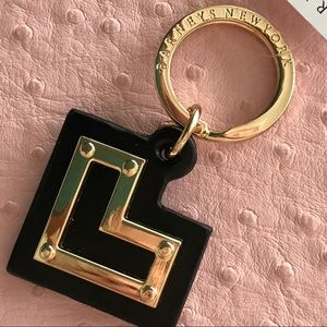 Barney's New York Heart key chain Black Leather